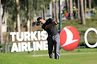 Ross Fisher (ENG) plays his 2nd shot on the 18th hole during Thursday's Round 1 of the 2018 Turkish Airlines Open hosted by Regnum Carya Golf &amp; Spa Resort, Antalya, Turkey. 1st November 2018.<br /> Picture: Eoin Clarke | Golffile<br /> <br /> <br /> All photos usage must carry mandatory copyright credit (&copy; Golffile | Eoin Clarke)