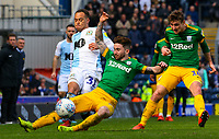 Blackburn Rovers' Elliott Bennett is tackled by Preston North End's Sean Maguire<br /> <br /> Photographer Alex Dodd/CameraSport<br /> <br /> The EFL Sky Bet Championship - Blackburn Rovers v Preston North End - Saturday 9th March 2019 - Ewood Park - Blackburn<br /> <br /> World Copyright © 2019 CameraSport. All rights reserved. 43 Linden Ave. Countesthorpe. Leicester. England. LE8 5PG - Tel: +44 (0) 116 277 4147 - admin@camerasport.com - www.camerasport.com