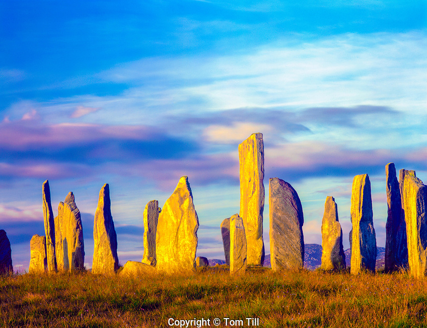 The Callinish Stones, Isle of Lewis, Scotland, United KIngdom, Outer Hebrides Islands, North Atlantic Ocean 5,000-year-old stand stones of Lewisiian gneis
