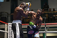 Darren Gibbons (dark blue waistband) defeats Aaron Green during a Boxing Show at York Hall on 30th June 2018