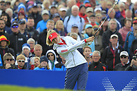 Nelly Korda of Team USA on the 10th tee during Day 1 Fourball at the Solheim Cup 2019, Gleneagles Golf CLub, Auchterarder, Perthshire, Scotland. 13/09/2019.<br /> Picture Thos Caffrey / Golffile.ie<br /> <br /> All photo usage must carry mandatory copyright credit (© Golffile | Thos Caffrey)
