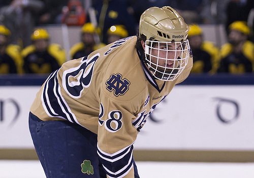 February 09, 2013:  Notre Dame defenseman Stephen Johns (28) during NCAA Hockey game action between the Notre Dame Fighting Irish and the Michigan Wolverines at Compton Family Ice Arena in South Bend, Indiana.  Notre Dame defeated Michigan 6-4.