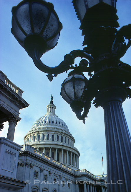 The Capital Building in Washington D.C. with lampost in foreground