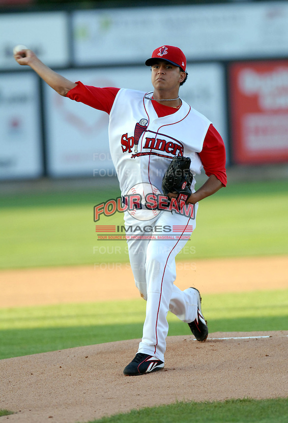 RHP Yeiper Castillo of the Lowell Spinners, the short season New York-Penn. League affiliate of the Boston Red Sox, at Edward LeLacheur Park in Lowell, MA on June 19, 2009 (Photo by Ken Babbitt/Four Seam Images)