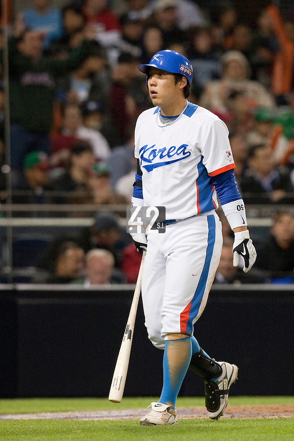 15 March 2009: #50 Hyun Soo Kim is dejected after strike out during the 2009 World Baseball Classic Pool 1 game 2 at Petco Park in San Diego, California, USA. Korea wins 8-2 over Mexico.