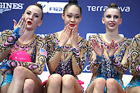 September 2, 2017 - Pesaro, Italy - USA group at 'kiss & cry' after 5-hoops routine at 2017 World Championships Pesaro, Italy.