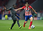 Atletico Madrid´s Brazilian defense Filipe Luis and Chelsea´s midfielder N´Golo Kante during the UEFA Champions League group C match between Atletico Madrid and Chelsea played at the Wanda Metropolitano Stadium in Madrid, on September 27th 2017.