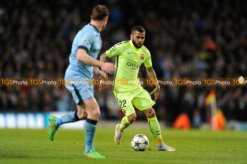 Daniel Alves of Barcelona controls the ball - Manchester City vs Barcelona - UEFA Champions League Round of 16 1st Leg Football at the Etihad Stadium, Greater Manchester - 24/02/15 - MANDATORY CREDIT: Greig Bertram/TGSPHOTO - Self billing applies where appropriate - contact@tgsphoto.co.uk - NO UNPAID USE