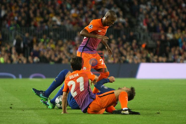 UEFA Champions League 2016/2017 - Matchday 3.<br /> FC Barcelona vs Manchester City FC: 4-0.<br /> David Silva, Gerard Pique &amp; Fernandinho.