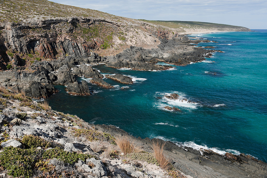 The rugged coast and turquoise ocean make this Kangaroo Island landscape stunning.