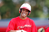 Infielder Yairo Munoz #4 of Escuela Basica Payita High School in the Dominican Republic during practice for the Under Armour All-American Game presented by Baseball Factory at Les Miller Field on August 12, 2011 in Chicago, Illinois.  (Mike Janes/Four Seam Images)