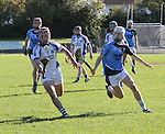 1310/2015   Action from Sixmilebridge where Sr Flannen's College took on Castletroy College in the Harty Cup.  Our photograph shows St Flannans Gearoid Cahill in control of the sliotar as  Castletroys Mark O&rsquo;Dwyer attacks.<br /> Photograph Liam Burke/Press 22