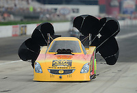 Sept. 1, 2012; Claremont, IN, USA: NHRA funny car driver Bob Bode during qualifying for the US Nationals at Lucas Oil Raceway. Mandatory Credit: Mark J. Rebilas-