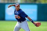 Atlanta Braves infielder Johan Camargo #12 during practice before a minor league Spring Training game against the Baltimore Orioles at Al Lang Field on March 13, 2013 in St. Petersburg, Florida.  (Mike Janes/Four Seam Images)