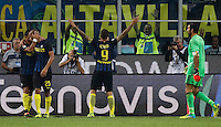 Calcio, Serie A: Inter vs Juventus. Milano, stadio San Siro, 18 settembre 2016.<br /> Inter's Mauro Icardi, second from right, celebrates after scoring as Juventus&rsquo; goalkeeper Gianluigi Buffon, right, reacts during the Italian Serie A football match between FC Inter and Juventus at Milan's San Siro stadium, 18 September 2016.<br /> UPDATE IMAGES PRESS/Isabella Bonotto