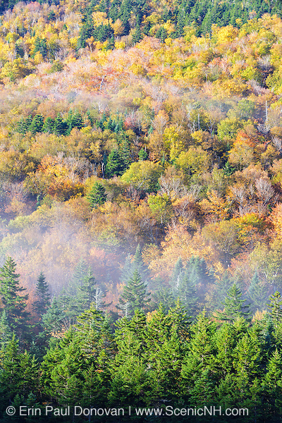 Crawford Notch State Park in the White Mountains, New Hampshire USA during the autumn months.