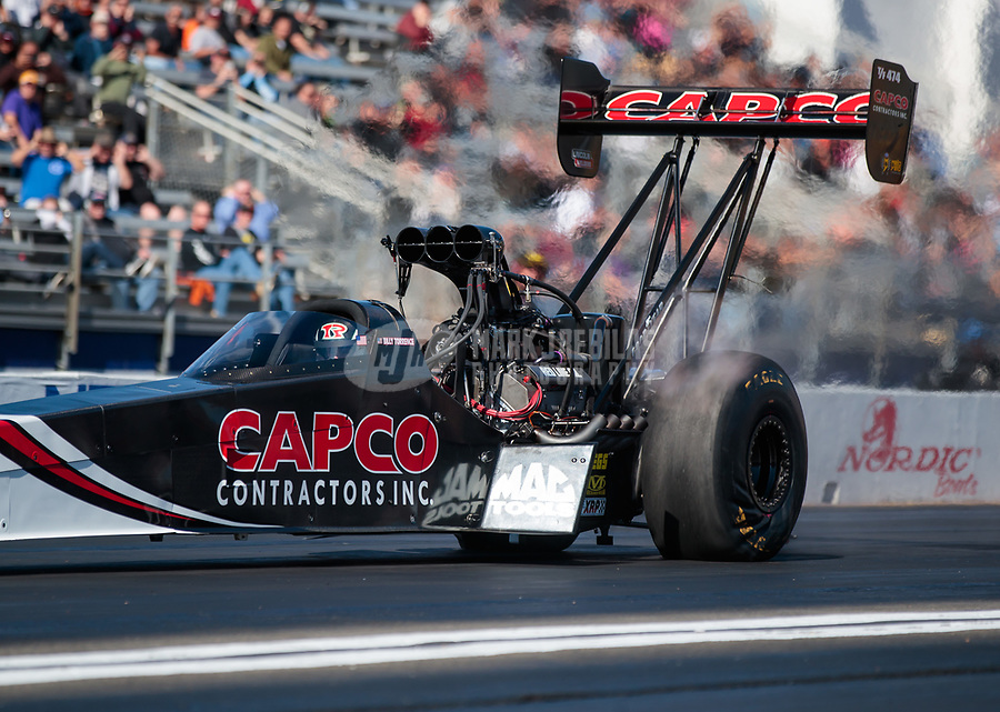 Feb 8, 2019; Pomona, CA, USA; NHRA top fuel driver Billy Torrence during qualifying for the Winternationals at Auto Club Raceway at Pomona. Mandatory Credit: Mark J. Rebilas-USA TODAY Sports