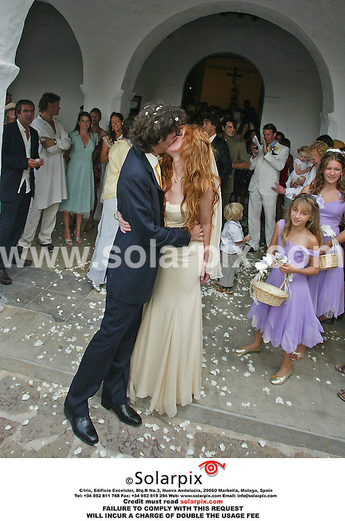 ALL-ROUND EXCLUSIVE PICTURES FROM SOLARPIX.COM.*MUST CREDIT SOLARPIX.COM OR DOUBLE USAGE FEE CHARGED*.Charlotte Tilbury wedding in Ibiza Spain Today attended by celebrity guests Kate Moss & Jade Jagger..This Pic shows.CHARLOTTE TILBURY & HUSBAND.Job Ref 2771-ABI-ROJ-MAD