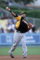 Pittsburgh Pirates third baseman Pedro Alvarez #24 before a game against the Los Angeles Dodgers at Dodger Stadium on September 17, 2011 in Los Angeles,California. Los Angeles defeated Pittsburgh 6-1.(Larry Goren/Four Seam Images)
