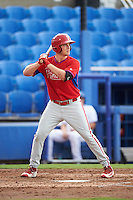 GCL Phillies designated hitter Ben Pelletier (26) at bat during the first game of a doubleheader against the GCL Blue Jays on August 15, 2016 at Florida Auto Exchange Stadium in Dunedin, Florida.  GCL Phillies defeated the GCL Blue Jays 7-5 in a completion of a game started on July 30th.  (Mike Janes/Four Seam Images)