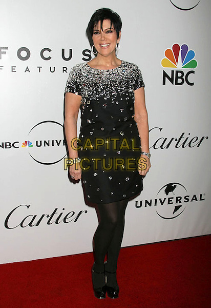 KRIS JENNER .NBC, Universal Pictures and Focus Features 66th Annual Golden Globe After Party sponsored by Cartier held at The Beverly Hilton Hotel, Beverly Hills, California, USA, 11 January 2009..globes full length black dress tights  silver crystals jewel encrusted embellished shift YSL platform shoes ankle strap .CAP/ADM/MJ.©Michael Jade/Admedia/Capital Pictures