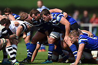 Arthur Cordwell of Bath United prepares to scrummage against his opposite number. Premiership Rugby Shield match, between Bristol Bears A and Bath United on August 31, 2018 at the Cribbs Causeway Ground in Bristol, England. Photo by: Patrick Khachfe / Onside Images