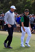 Matt Kuchar (USA) and Louis Oosthuizen (International) on the 2nd tee during the Second Round - Foursomes of the Presidents Cup 2019, Royal Melbourne Golf Club, Melbourne, Victoria, Australia. 13/12/2019.<br /> Picture Thos Caffrey / Golffile.ie<br /> <br /> All photo usage must carry mandatory copyright credit (© Golffile | Thos Caffrey)