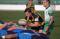 Griffin Culver feeds a scrum during the 2019 Manawatu premier club rugby Hankins Shield final match between Varsity and Feilding Yellows at CET Arena in Palmerston North, New Zealand on Saturday, 13 July 2019. Photo: Dave Lintott / lintottphoto.co.nz