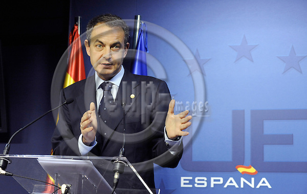 Brussels-Belgium - 12 December 2008 -- European Council, EU-summit under French Presidency; here, José Luis Rodríguez ZAPATERO (Jose, Rodriguez), Prime Minister of Spain, during his press briefing on the outcome of the summit -- Photo: Horst Wagner / eup-images