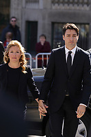 Canadian Prime Minister Justin Trudeau and his wife Sophie Gregoire<br /> attend<br /> the funerals of Jean Lapierre, former politician and media,<br />  April 16, 2016 in Outremont.<br /> <br /> Photo : Pierre Roussel - Agence Quebec Presse<br /> <br /> <br /> <br /> <br /> <br /> <br /> <br /> <br /> .