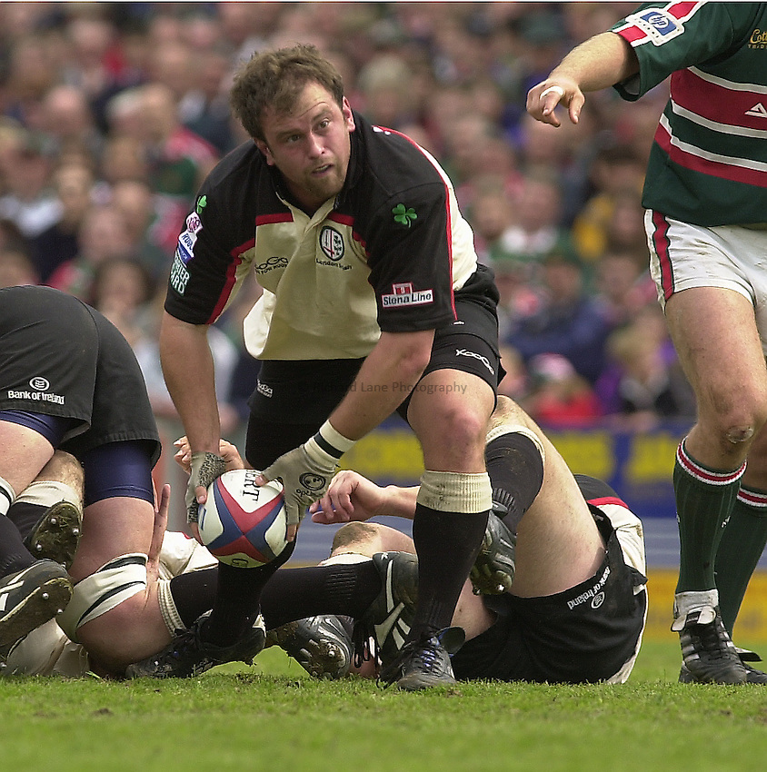 Photo Peter Spurrier.Zurich Premiership Rugby - Leicester Tigers v London Irish.  03/05/2003.Exiles hooker Adrian Flavin...