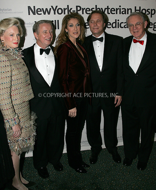 "WWW.ACEPIXS.COM . . . . . ....NEW YORK, OCTOBER 14, 2004....Celine Dion performed at the sold out benefit ""A New Cabaret"" to support New York Presbyterian Hospital and Weill Cornell Medical Center. The event raised $2.5 million dollars to support patient care and clinical research programs for the centers.....Please byline: BRIAN FLANNERY - ACE PICTURES.. . . . . . ..Ace Pictures, Inc:  ..Alecsey Boldeskul (646) 267-6913 ..Philip Vaughan (646) 769-0430..e-mail: info@acepixs.com..web: http://www.acepixs.com"