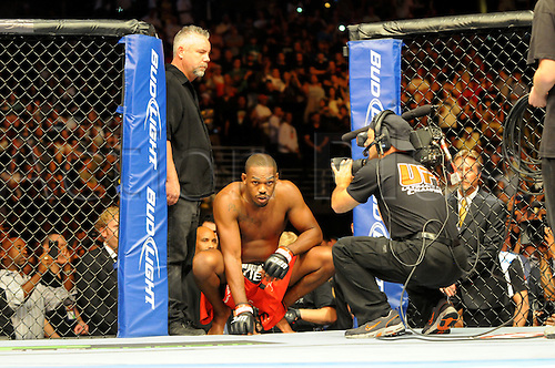 "24.09.2011. Denver, Colorado. Jon ""Bones"" Jones prepares to enter the octagon during UFC 135 at the Pepsi Center in Denver, Colorado."