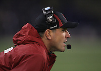 Oct 30, 20010:  Stanford head coach Jim Harbaugh watches his team from the sidelines against Washington.  Stanford defeated Washington 41-0 at Husky Stadium in Seattle, Washington.  .