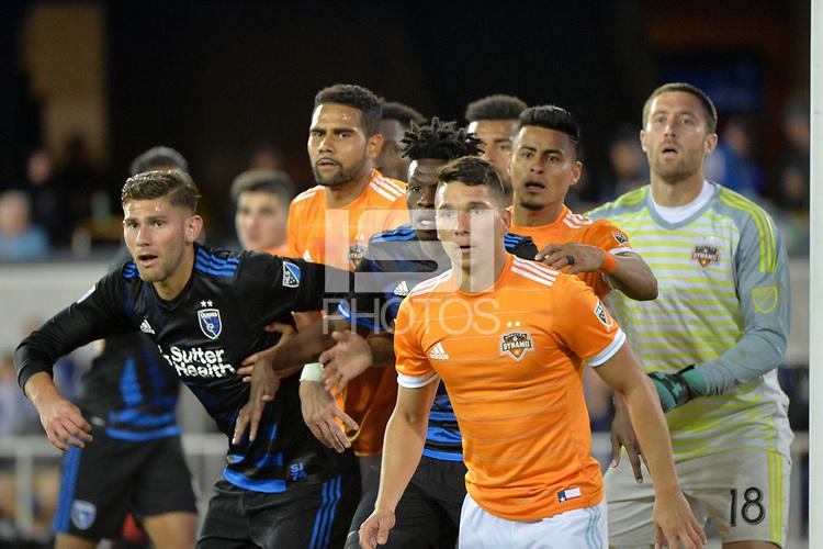 San Jose, CA - Saturday April 14, 2018: Yeferson Quintana, Fatai Alashe during a Major League Soccer (MLS) match between the San Jose Earthquakes and the Houston Dynamo at Avaya Stadium.