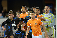 San Jose, CA - Saturday April 14, 2018: Yeferson Quintana, Fatai Alashe during a Major League Soccer (MLS) match between the San Jose Earthquakes and the Houston Dynamo at Avaya Stadium.