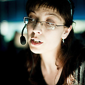 "GORA KALWARIA, POLAND, MAY 2011:.Consultant at the ""Call Center Poland"" call center in Gora Kalwaria near Warsaw..(Photo by Piotr Malecki / Napo Images)..GORA KALWARIA, MAJ 2011:.Telemarketerka w firmie ""Call Center Poland""..Fot: Piotr Malecki / Napo Images.***Zdjecie moze byc wykorzystane w prasie, jesli sposob jego uzycia i podpis nie obrazaja osob znajdujacych sie na nim***"