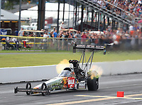 Sep 15, 2018; Mohnton, PA, USA; NHRA top fuel driver Terry McMillen during qualifying for the Dodge Nationals at Maple Grove Raceway. Mandatory Credit: Mark J. Rebilas-USA TODAY Sports