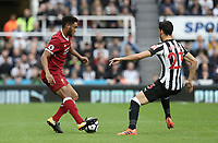 Liverpool's Joe Gomez takes on Newcastle United's Mikel Merino<br /> <br /> Photographer Rich Linley/CameraSport<br /> <br /> The Premier League -  Newcastle United v Liverpool - Sunday 1st October 2017 - St James' Park - Newcastle<br /> <br /> World Copyright &copy; 2017 CameraSport. All rights reserved. 43 Linden Ave. Countesthorpe. Leicester. England. LE8 5PG - Tel: +44 (0) 116 277 4147 - admin@camerasport.com - www.camerasport.com