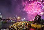 Fourth of July fireworks over the Charles River, Boston, Massachusetts, USA