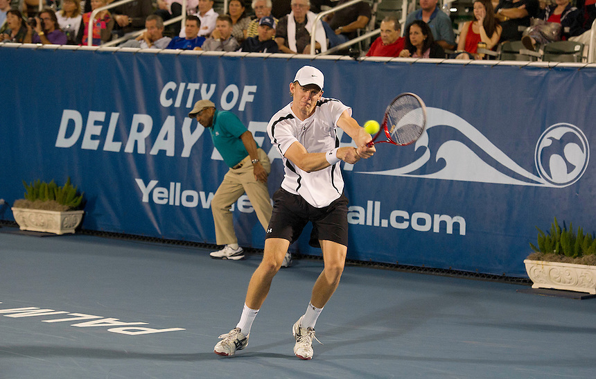 Kevin Anderson (RSA) in action during his victory over John Isner (USA) in their Semi Final match today- Kevin Anderson (RSA) def John Isner (USA) 7-5 7-6(4)..ATP 250 Tennis - 2012 Delray Beach International Tennis Championships - Day 6 - Saturday 03 March 2012 - Delray Beach Stadium & Tennis Center - Delray Beach - Florida - USA..