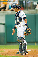Catcher Larry Gonzalez #23 of the Pulaski Mariners gives defensive signals to the infield during an Appalachian League game against the Greeneville Astros at Calfee Park August 29, 2010, in Pulaski, Virginia.  Photo by Brian Westerholt / Four Seam Images