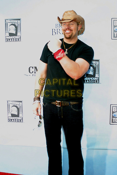 "TOBY KEITH.""Broken Bridges"" Premiere held at Ryman Auditorium, Nashville, Tennessee , USA,.7 September 2006..half length cowboy hat hand wrist arm gesture black t-shirt beard.Ref: ADM/RR.www.capitalpictures.com.sales@capitalpictures.com.©Randi Radcliff/AdMedia/Capital Pictures."