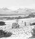 Old snow scene black and white at Killarney golf club 1950's.<br /> Photo Harry MacMonagle