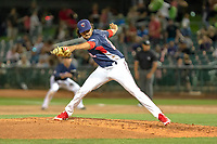 Justin Lawrence (25) of the Lancaster JetHawks delivers a pitch to the plate against the North Division during the 2018 California League All-Star Game at The Hangar on June 19, 2018 in Lancaster, California. The North All-Stars defeated the South All-Stars 8-1.  (Donn Parris/Four Seam Images)