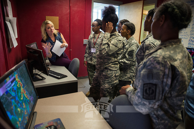 Lindsey Morschauser teaches cadets about broadcast meteorology during the leaderSTATE JROTC summer camp program at Mississippi State University.<br />