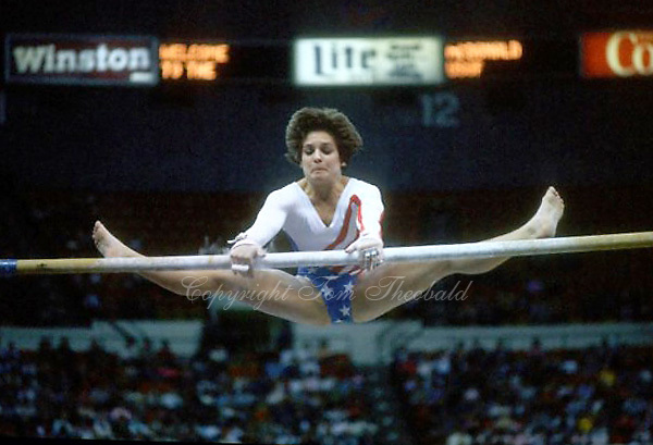 May 15, 1983; Los Angeles, California, USA; Artistic gymnast Mary Lou Retton of USA performs on uneven bars at USA vs USSR dual meet at Los Angeles.  Copyright 1983 Tom Theobald.
