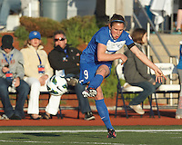 Boston Breakers midfielder Heather O'Reilly (9) takes a shot. In a National Women's Soccer League Elite (NWSL) match, the Boston Breakers (blue) defeated Chicago Red Stars (white), 4-1, at Dilboy Stadium on May 4, 2013.