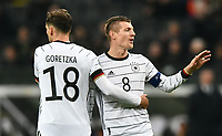 19th November 2019, Frankfurt, Germany; 2020 European Championships qualification, Germany versus Northern Ireland; Leon Goretzka (Ger) celebrates with Toni Kroos (Ger)