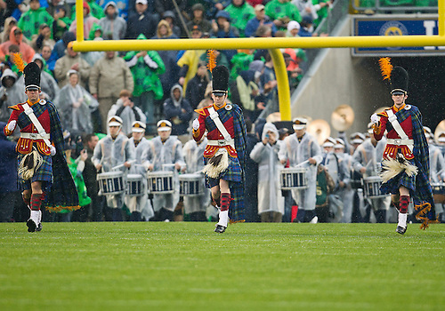October 13, 2012:  The Irish Guard lead the band onto the field prior to NCAA Football game action between the Notre Dame Fighting Irish and the Stanford Cardinal at Notre Dame Stadium in South Bend, Indiana.  Notre Dame defeated Stanford 20-13.